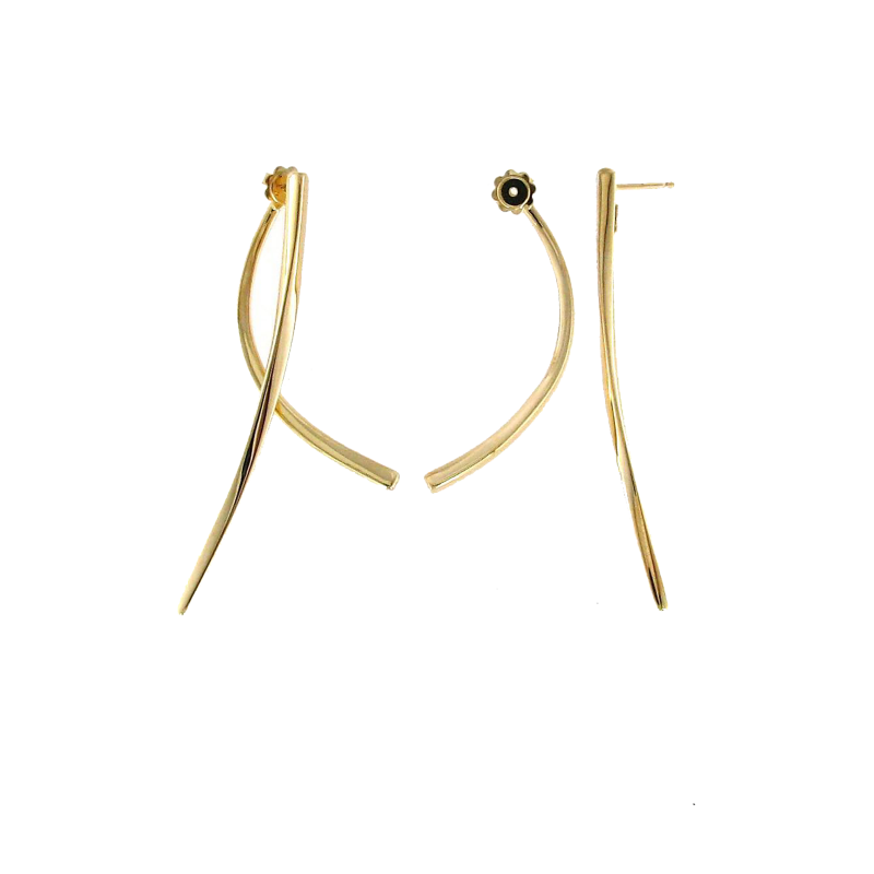 Roberto Coin Two Piece Curved Drop Earrings in 18K Yellow Gold