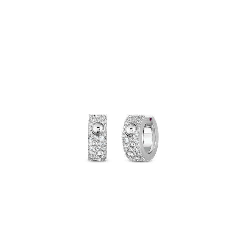 Roberto Coin Pois Moi Luna Huggie Diamond Earrings in 18K White Gold front view