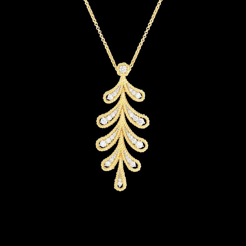 Roberto Coin Byzantine Barocco Diamond Branch Necklace in 18K Gold