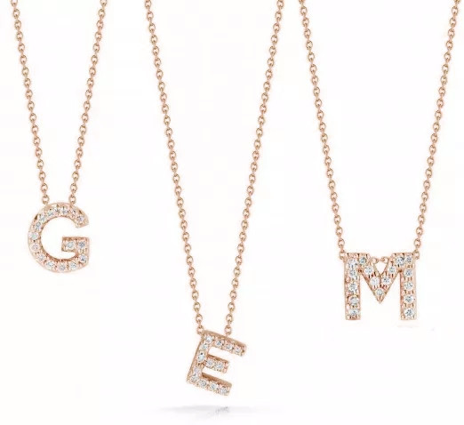 Roberto Coin Tiny Treasures Initial Necklace in 18K Rose Gold