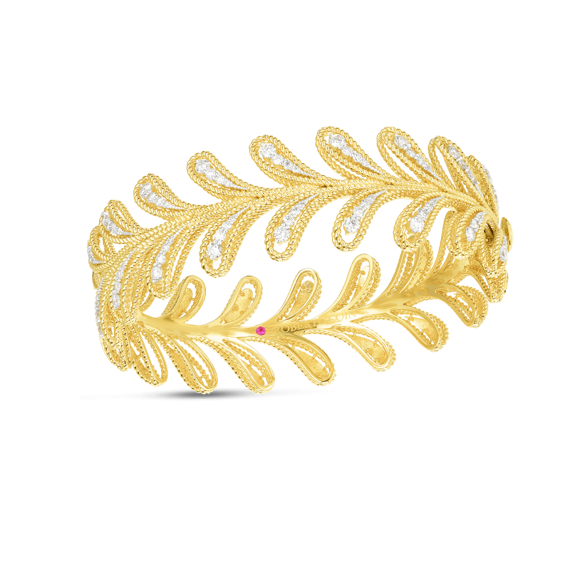 Roberto Coin Byzantine Barocco Leaf Bangle in 18K Gold front view