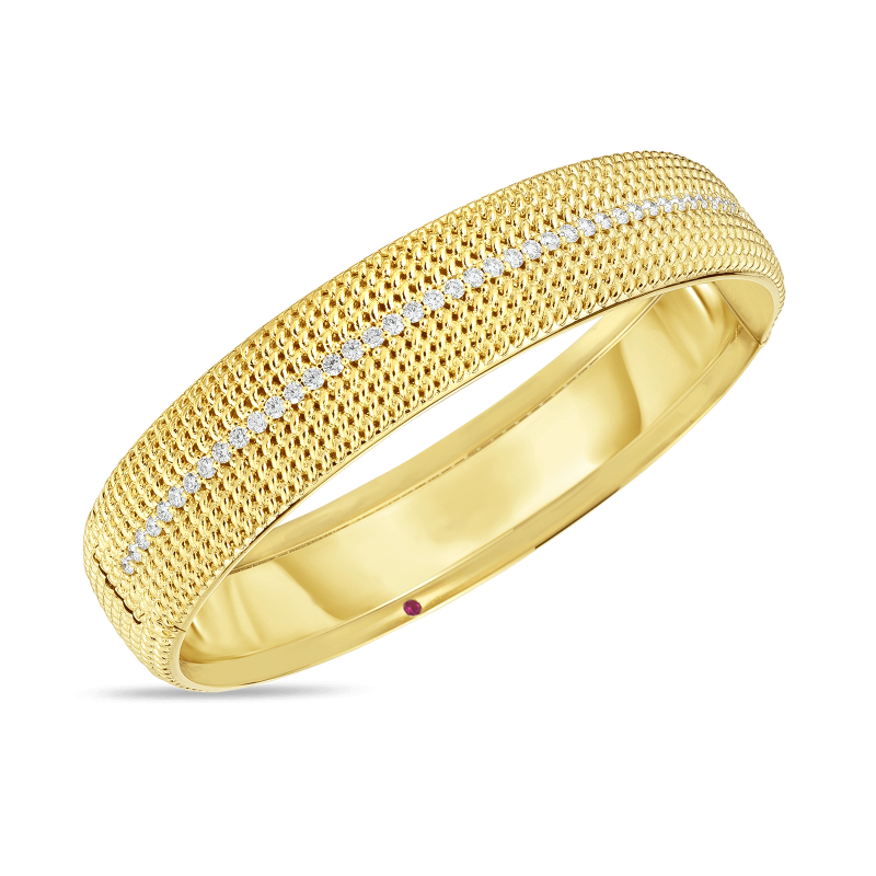 Roberto Coin Opera Wide Hinged Diamond Bangle in 18K Gold main view
