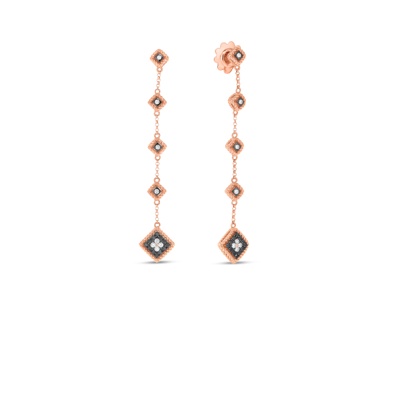 Roberto Coin Palazzo Ducale Diamond Drop Earrings in 18K Gold front view