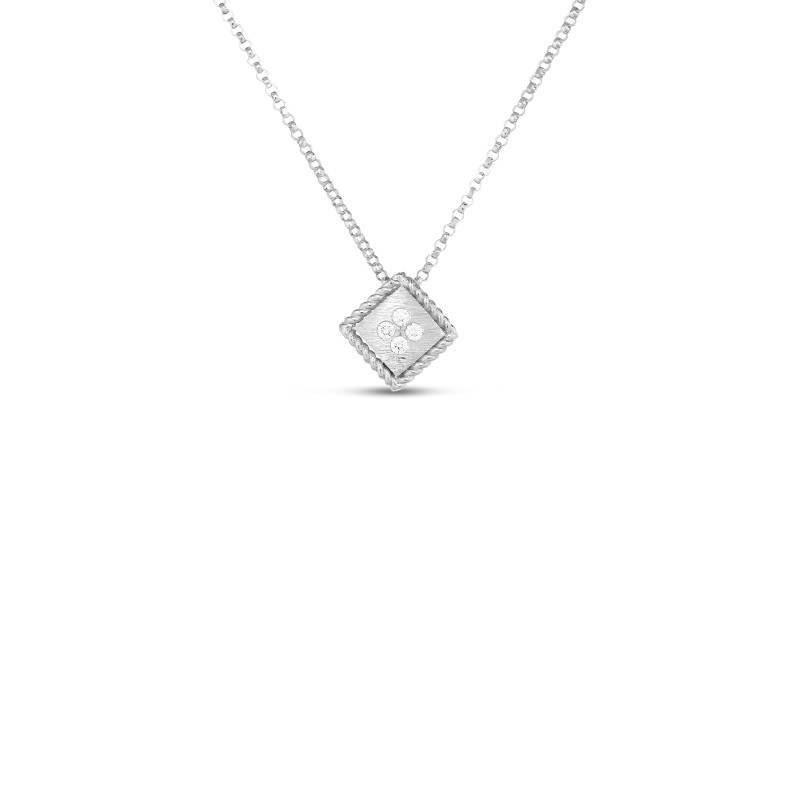 Roberto Coin Palazzo Ducale 18K Gold Square Necklace white gold