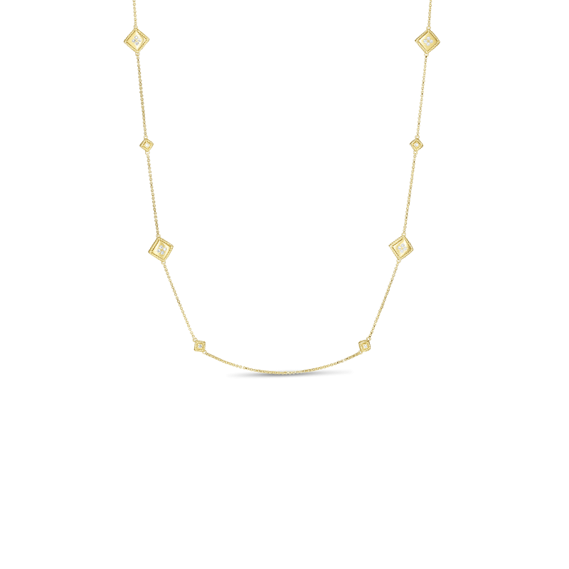 Roberto Coin Palazzo Ducale Diamond Station Necklace close view