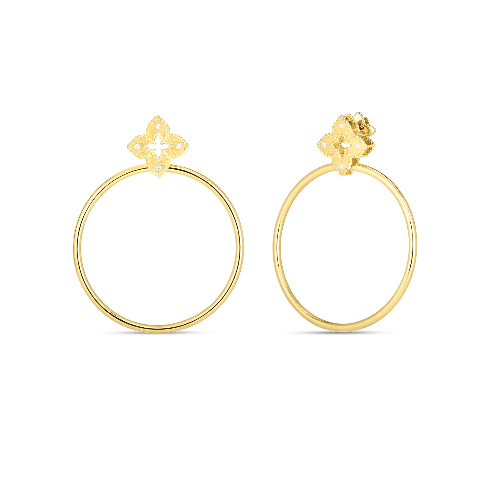 Roberto Coin Petite Venetian Princess Flower Hoops in 18K Gold main view