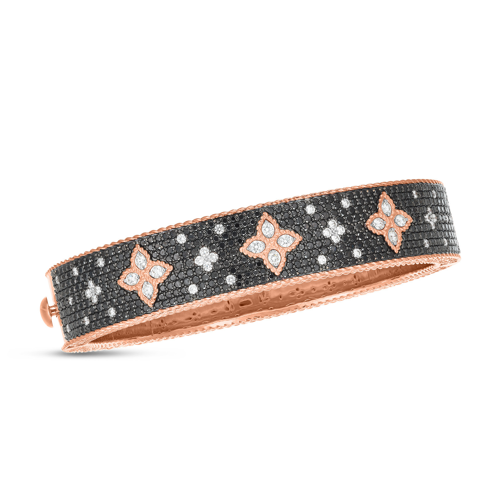 Roberto Coin Princess Flower Black Bangle in 18K Gold front view