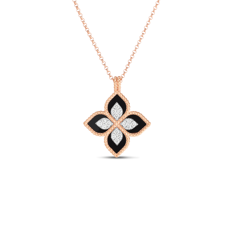 Roberto Coin Princess Flower Diamond Black Necklace in 18K Gold front view