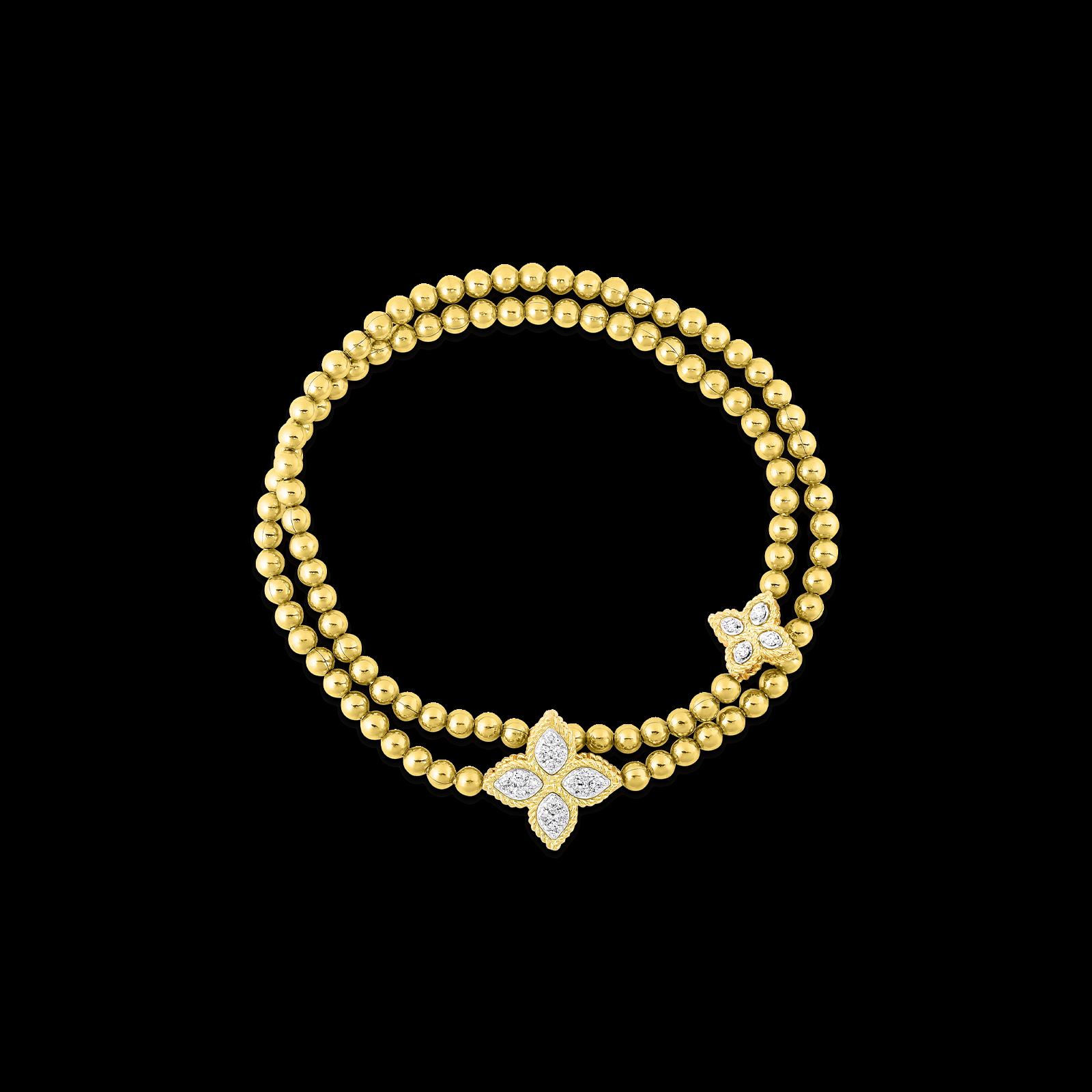Roberto Coin Princess Flower Double Strand Diamond Bracelet in 18K Gold main view