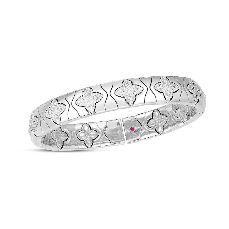 Roberto Coin Royal Princess Flower Diamond Bangle in 18K White Gold