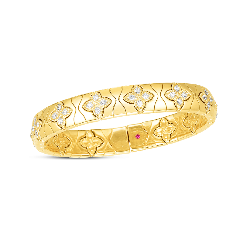 Roberto Coin Royal Princess Flower Diamond Bangle in 18K Yellow Gold
