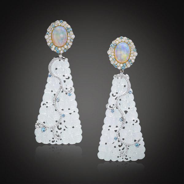 Robert Pelliccia Opal Ice Jade Diamond Earrings