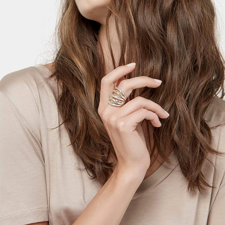 John Hardy Wide Gold & Silver Bamboo Overlapping Band Ring on Model