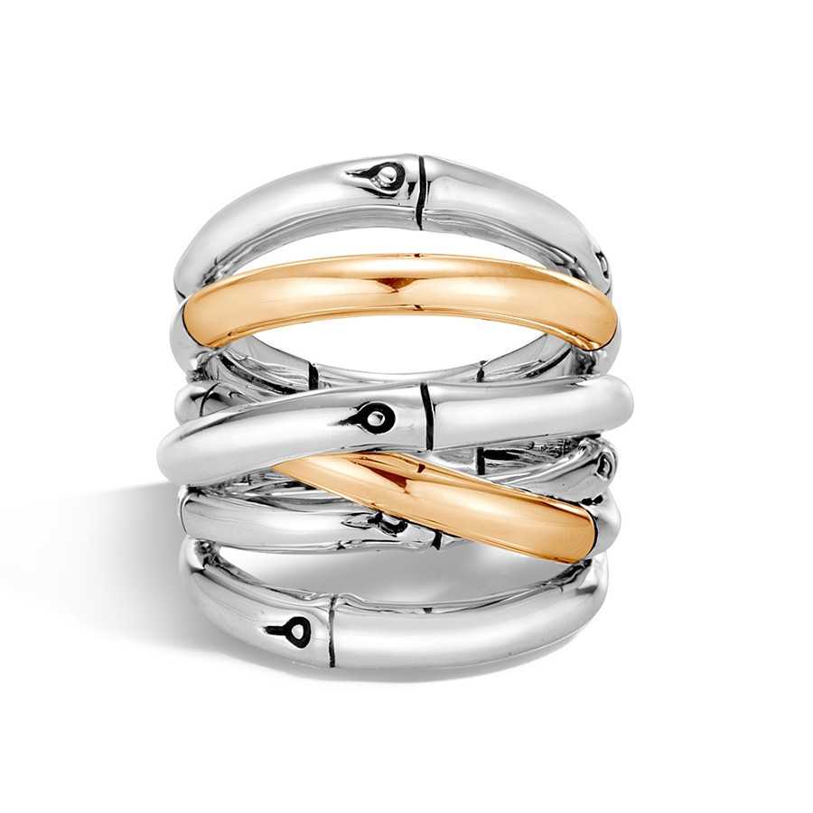 John Hardy Wide Gold & Silver Bamboo Overlapping Band Ring Top View