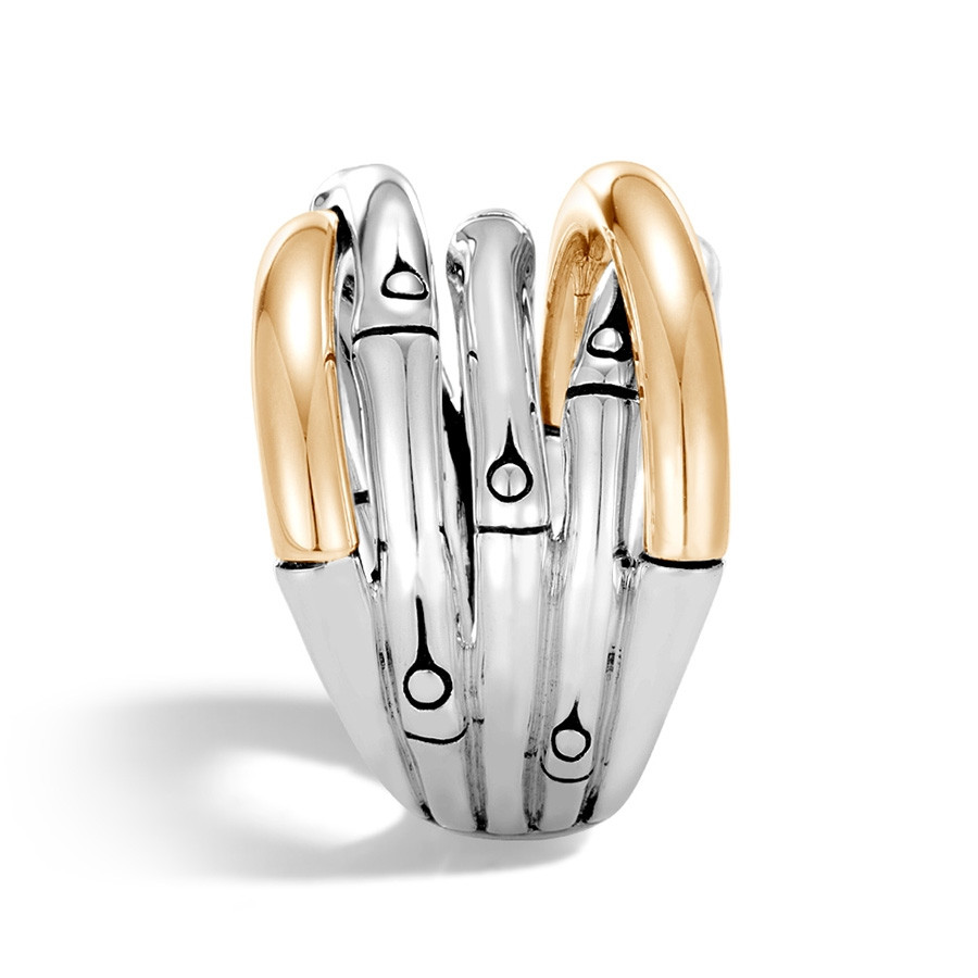 John Hardy Gold & Silver Bamboo Overlapping Band Ring Side View