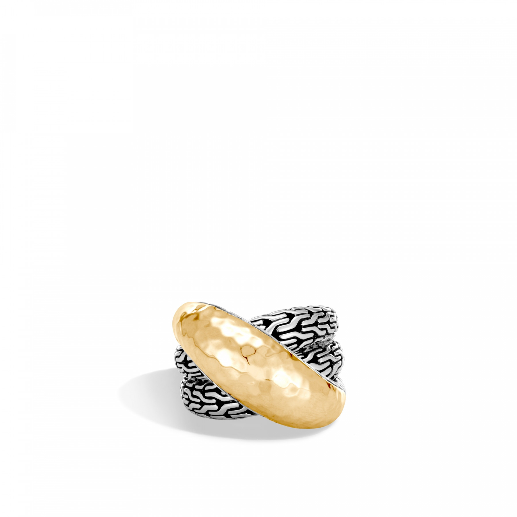 John Hardy Classic Chain Two-Tone Overlap Ring front view