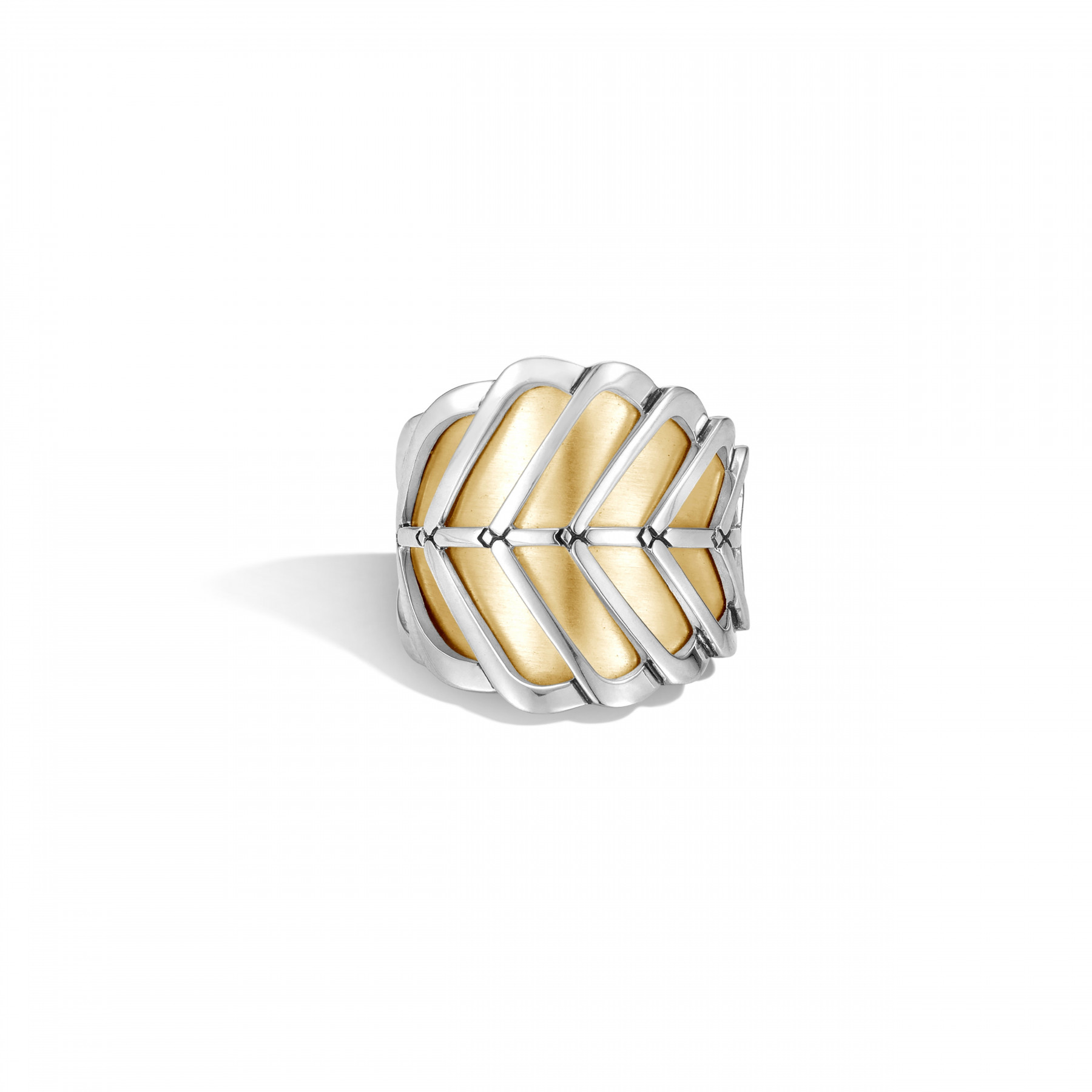 John Hardy Modern Chain Two-Tone Saddle Ring front view