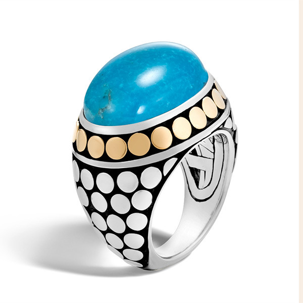 John Hardy Dot Turquoise Gold & Silver Dome Ring