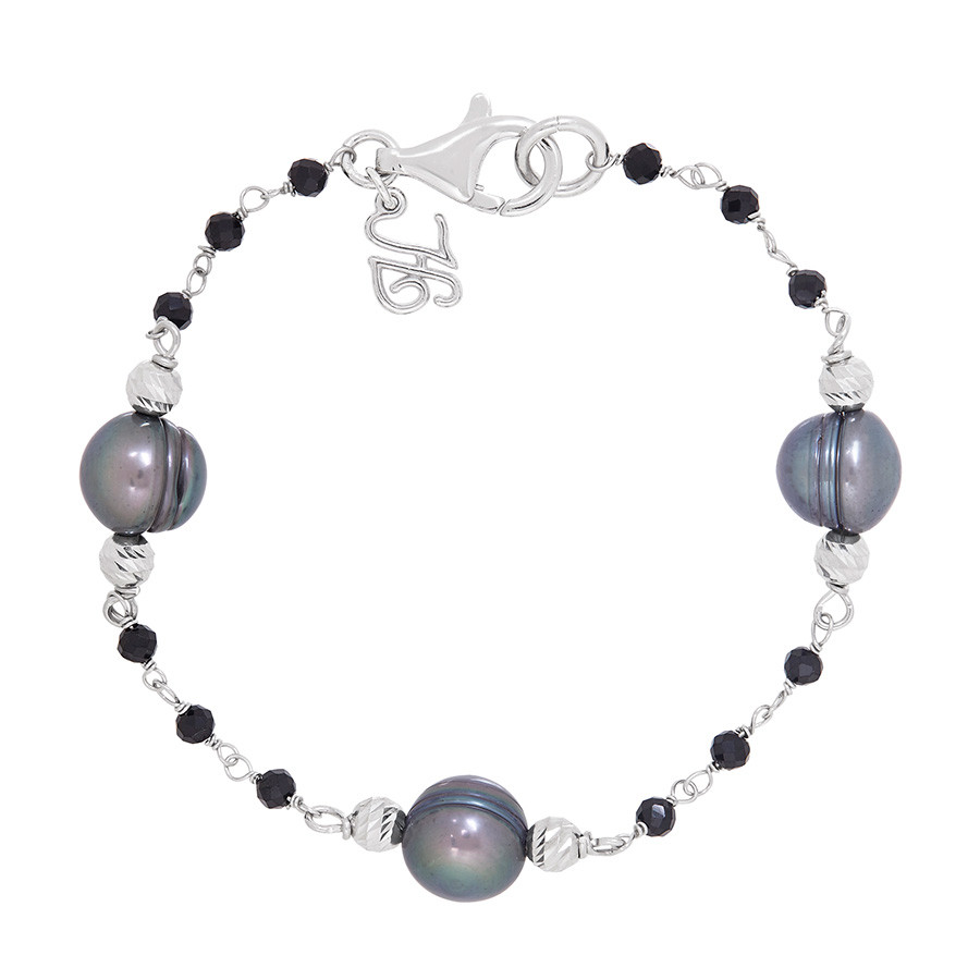 Honora After Dark Peacock Pearl & Black Spinel Chain Tin Cup Bracelet