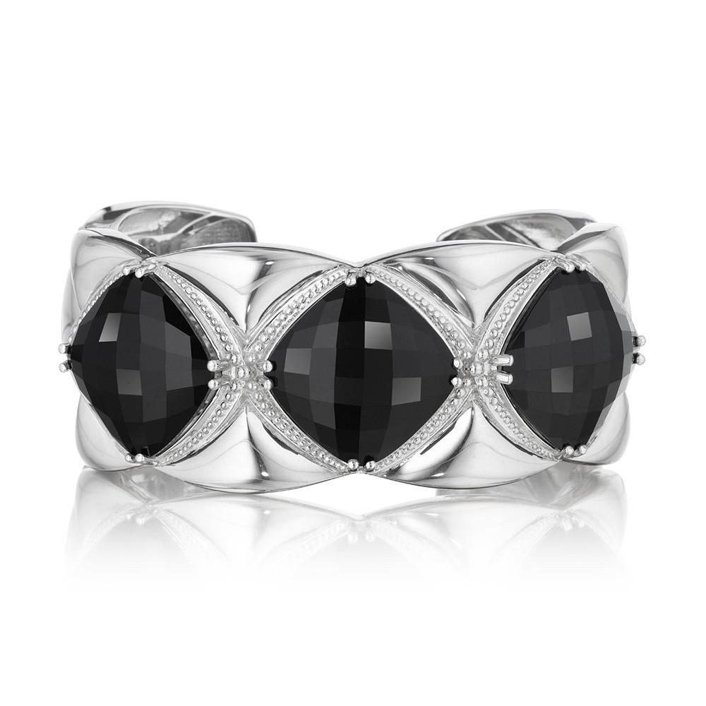 Tacori Wide Black Onyx Silver Cuff Classic Rock Bracelet