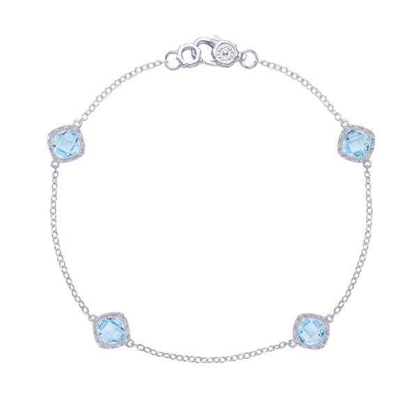 Tacori Crescent Embrace Sky Blue Topaz Station Bracelet in Sterling Silver