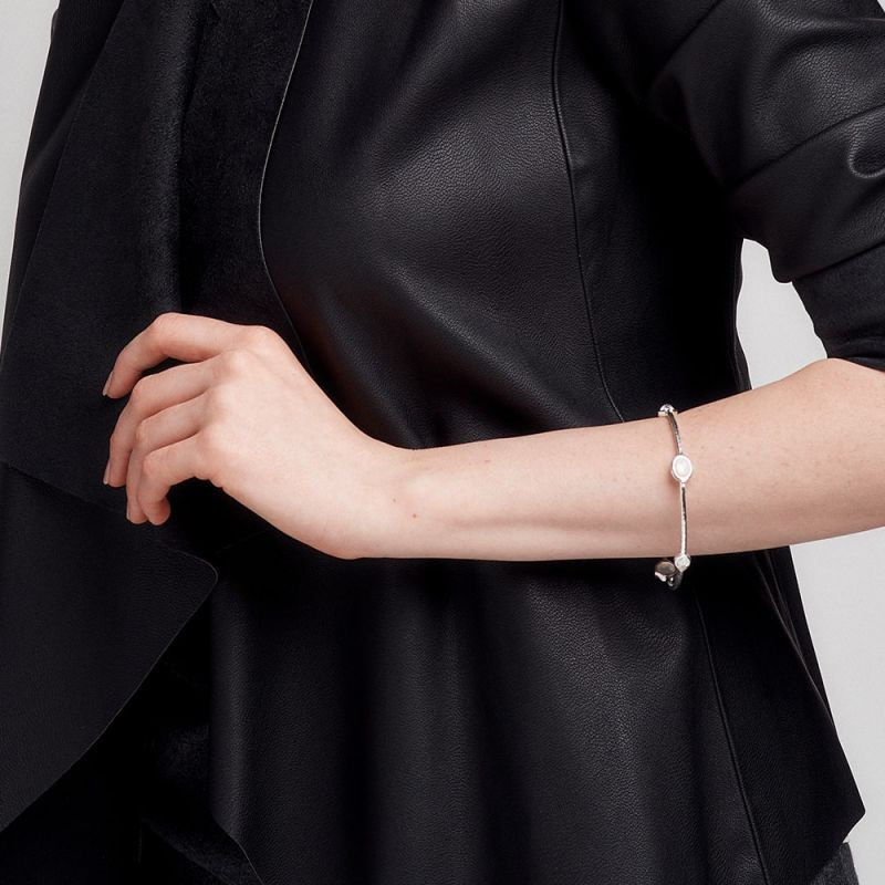 IPPOLITA Silver Rock Candy Eclipse Blue Bangle Bracelet on model