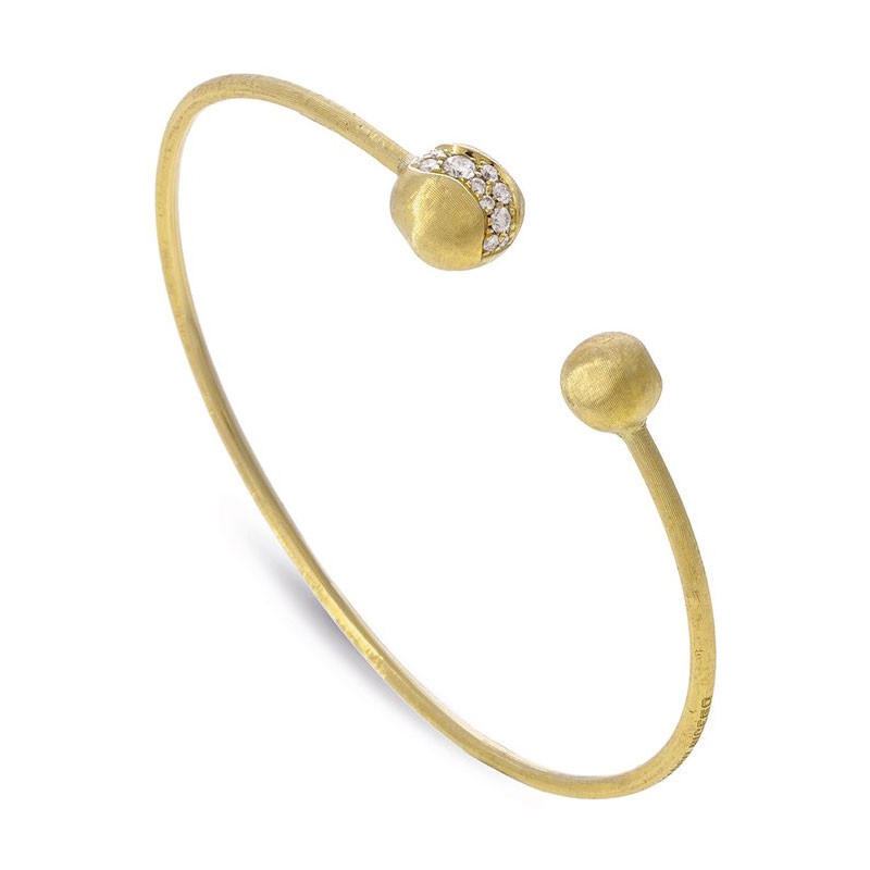 Marco Bicego Small Africa Constellation Yellow Gold Diamond Kissing Bangle