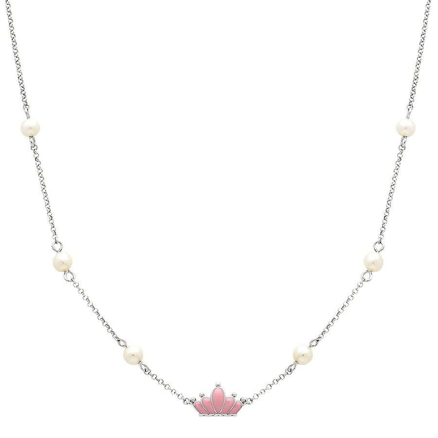Honora Silver Girls Pink Princess Crown & Pearl Station Necklace