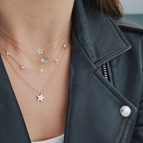 EF Collection Yellow Gold Mini Open Star Diamond Necklace on Model