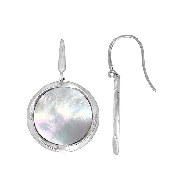 Honora White Mother of Pearl Large Drop Reflection Earrings