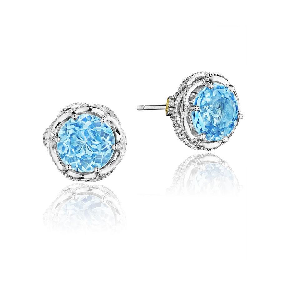 Tacori Petite Swiss Blue Topaz Crescent Crown Island Rains Stud Earrings