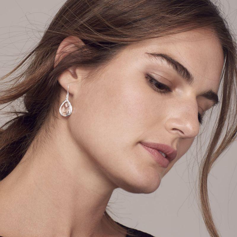 IPPOLITA Silver Rock Candy Blue Gemstone Dangle Earrings on model