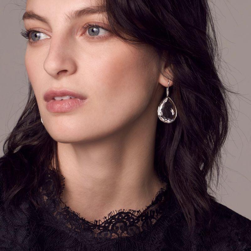IPPOLITA Silver Rock Candy Large Blue Teardrop Earrings on model