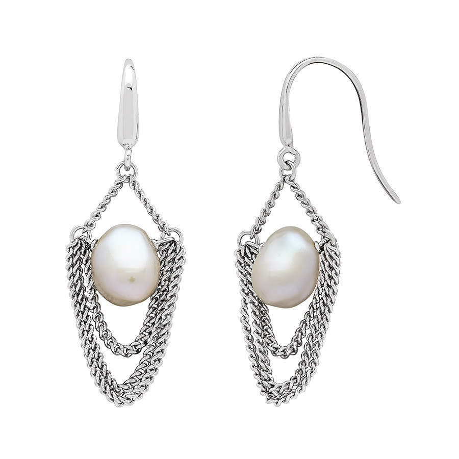 Honora Curb Appeal White Baroque Pearl & Silver Drop Chain Earrings