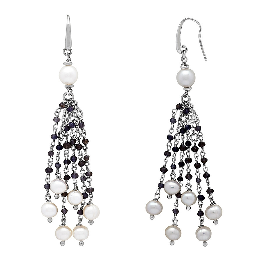 Honora After Dark White Pearl & Iolite Tassel Earrings