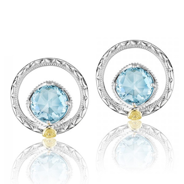 Tacori 18K925 Island Rains Sky Blue Topaz 7mm Round Earrings