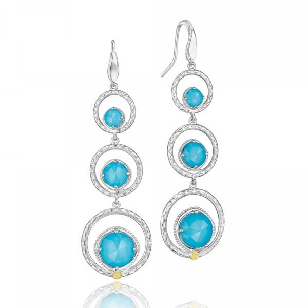 Tacori 18K925 Island Rains Neolite Turquoise Three Tier Drop Earrings