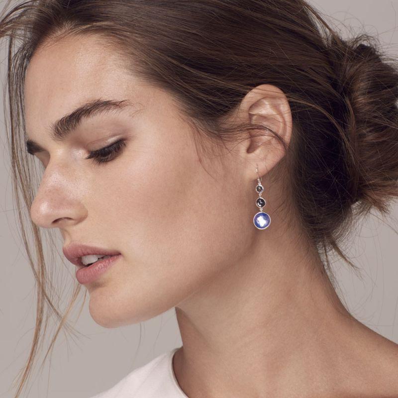IPPOLITA Silver Lollipop Three Stone Eclipse Blue Dangle Earrings on model
