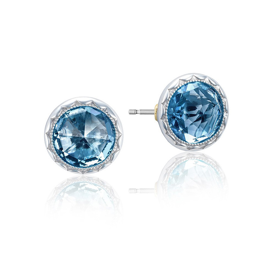 Tacori Island Rains London Bezel Blue Topaz Stud Earrings