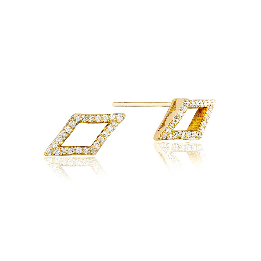 Tacori Yellow Gold Diamond Chevron Stud The Ivy Lane Earrings