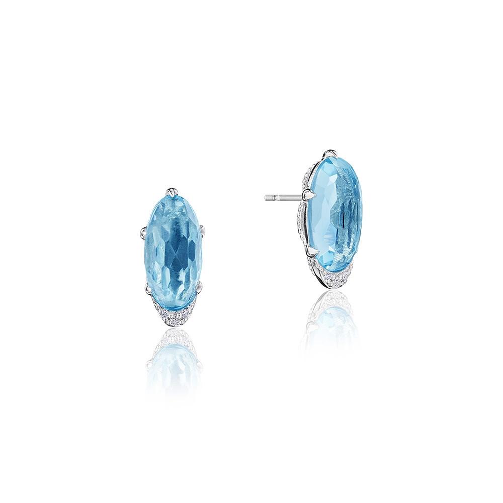 Tacori Horizon Shine Sky Blue Topaz & Diamond Oval Silver Stud Earrings