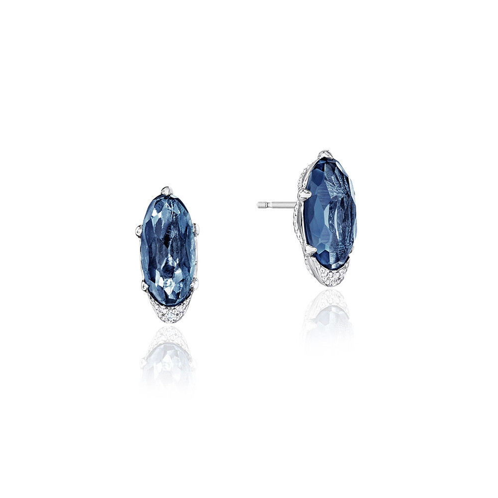 Tacori London Blue Topaz & Diamond Horizon Shine Oval Stud Earrings