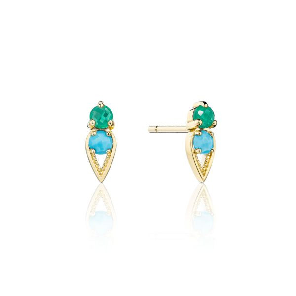 Tacori Turquoise and Green Onyx Stud Earrings in 14K Yellow Gold
