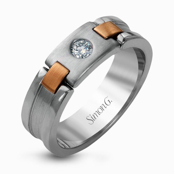 Simon G Two Tone Solitaire Men's Engagement Ring