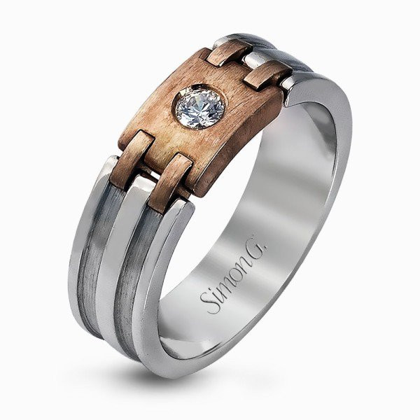 Simon G Two Tone Modern Design Men's Diamond Band