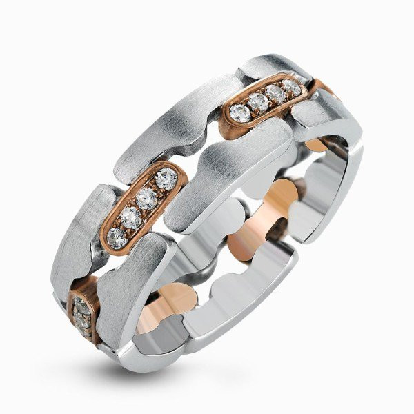 Simon G Two Tone Puzzle-Piece Men's Diamond Band
