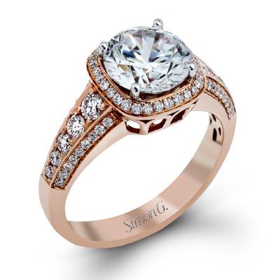 Simon G MR2181 Passion Pave Halo Engagement Ring