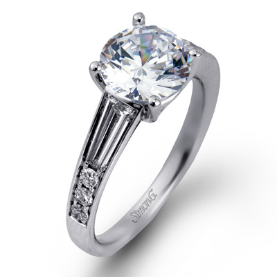 Simon G Classy Solitaire with Site Stones Engagement Ring