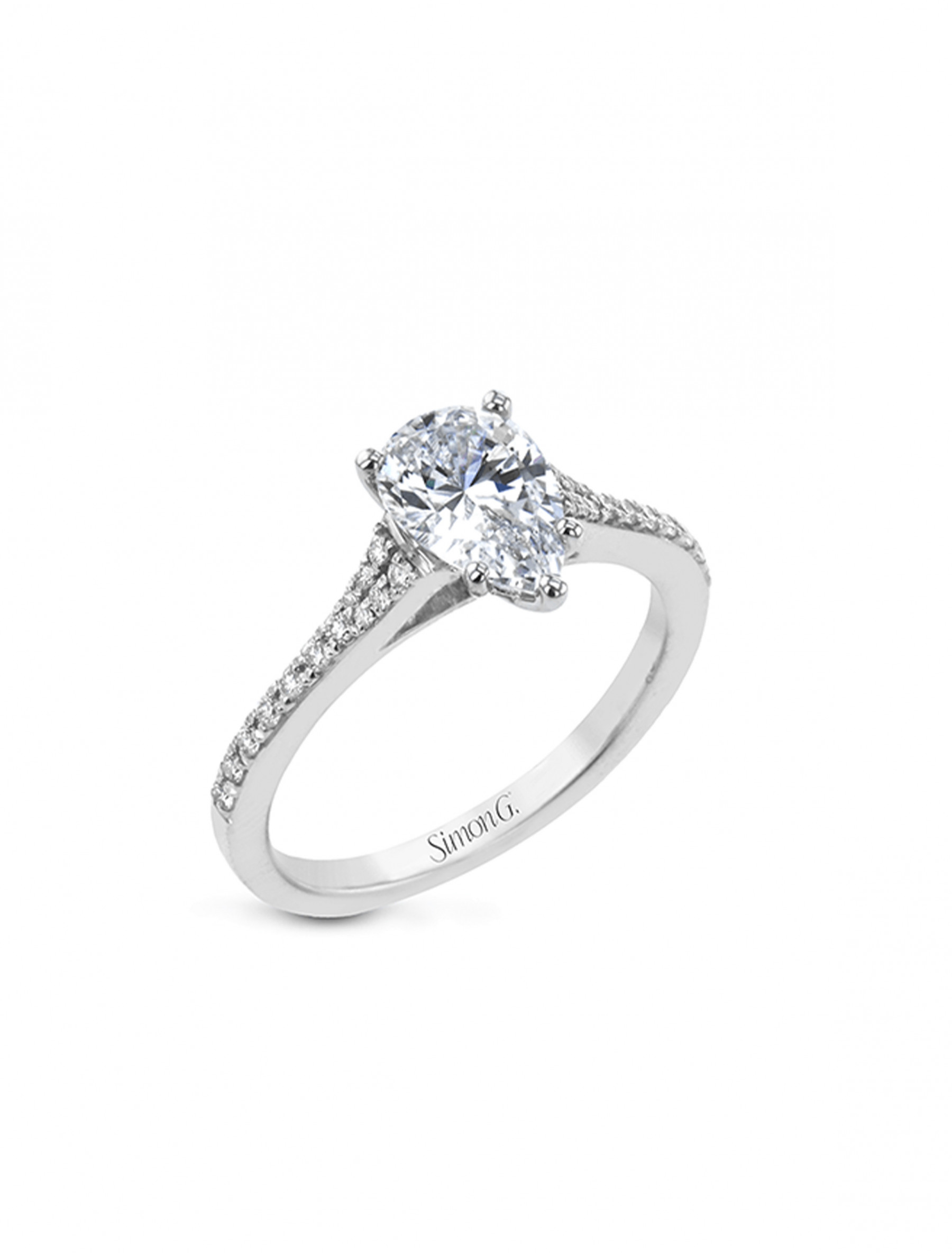 Simon G Pear Pave Diamond Engagement Ring Setting in 18K Gold