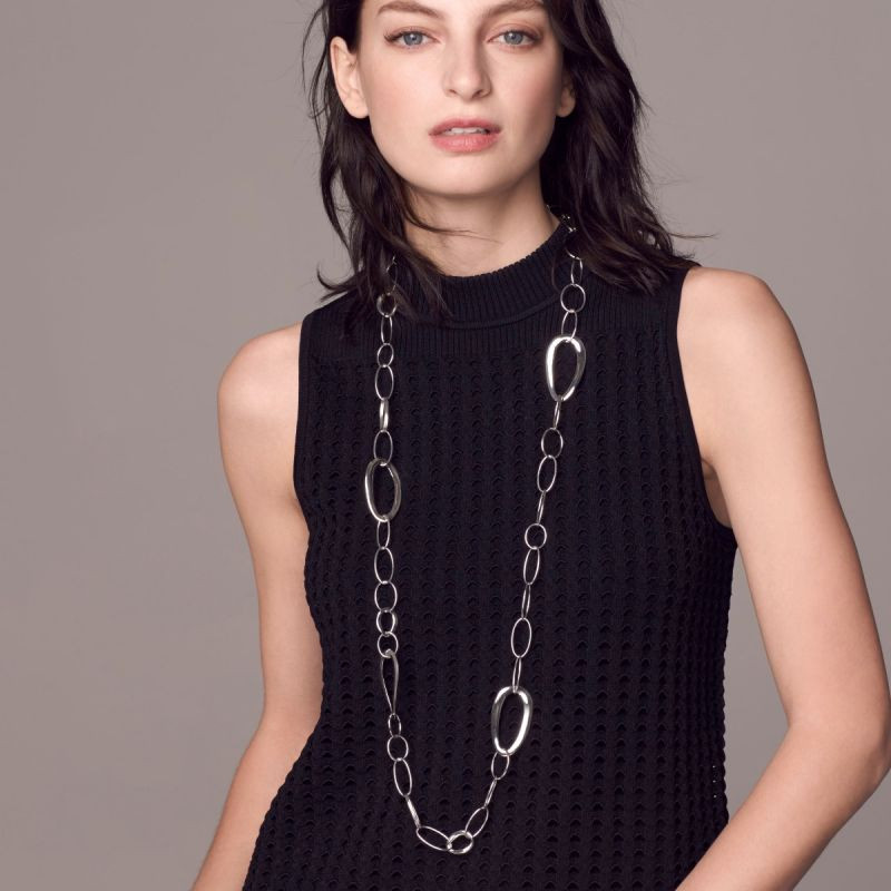 IPPOLITA Classico Silver and Gold Accent Chain Necklace on model